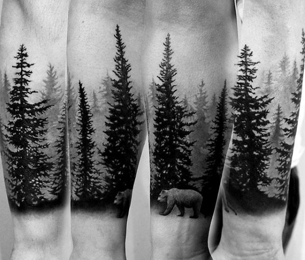 Coole Bärใน Natur Kiefer Forearm Guys Sleigh Tattoos