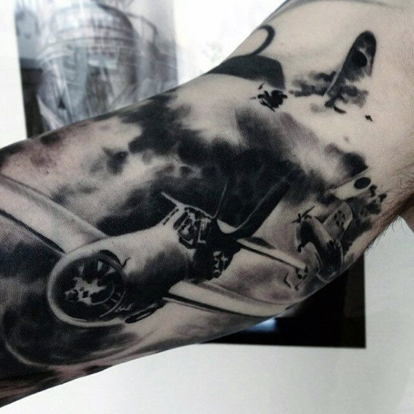 Bicep muži's Military Fighter Jet Air Tattoos
