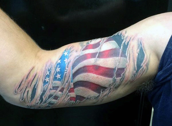 Chlap's Military Flag Tattoo On Bicep