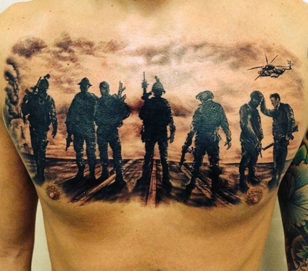 Muži's Traditional Military Tattoos On Chest