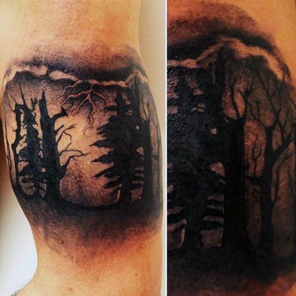 Cool Outdoors Forester Silhouette Mens Inner Arm Tattoos