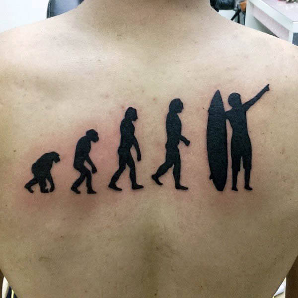 Mens Evolution Ape To Surfer Silhouette Back Tattoo