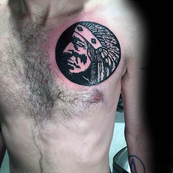 Native American Silhouette Mens Upper Chest Tattoos
