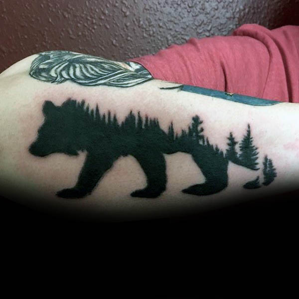 Silhouette Bear Trees Mens Outer Forearm Tattoo