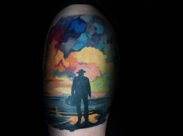 Watercolour Sky Silhouette Of Man Guys Upepr Arm Tattoo