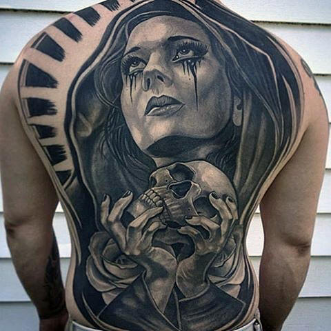 Chicano Guys Virgin Mary tenant des crânes Guys étonnants Tatouages ​​Full Back