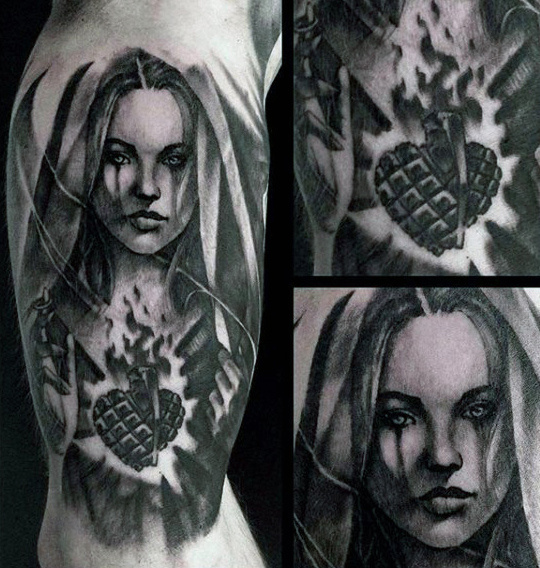 Tatouages ​​Flaming Heart Heart Inner Arm Virgin Mary pour les hommes