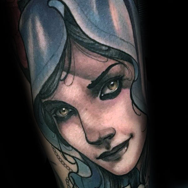 Neo portrait traditionnel vierge Mary Guys bras tatouages