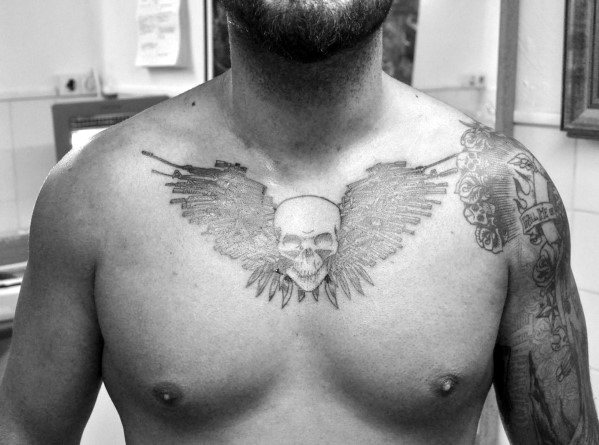 Expendables Logo Guys Upper Chest Tattoo