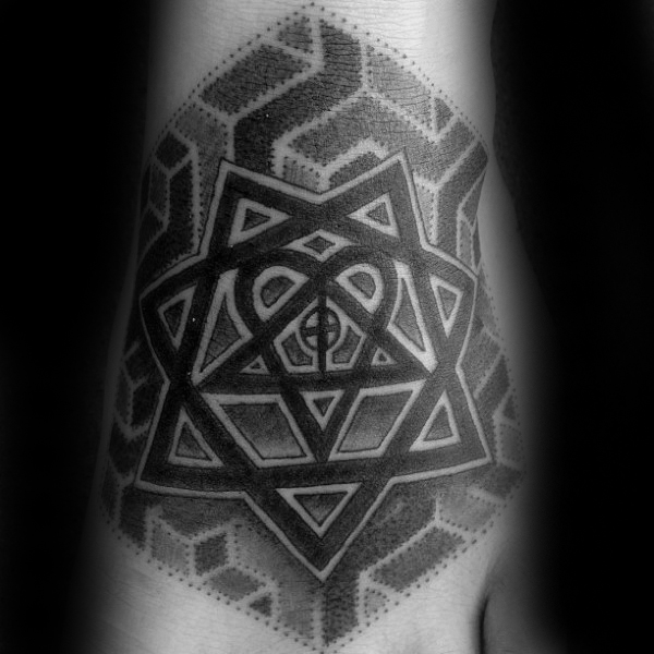 Dotwork Geometrical Heartagram Pattern Mens Foot Tattoo