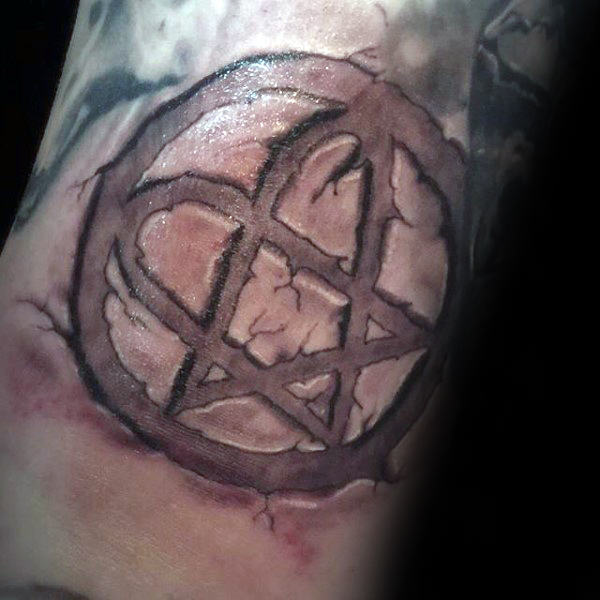 Amazing Guys Stone Heartagram 3d Tattoo On Arm