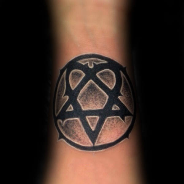Black And White Ink Shaded Heartagram Tattoos For Guys On Inner Forearms