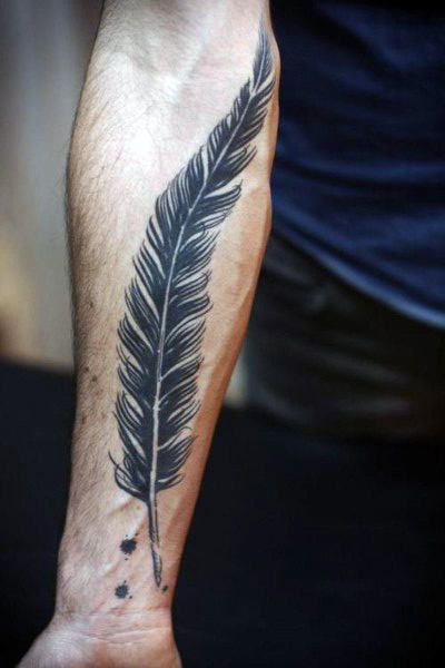 Petits hommes's Tattoos On Wrist Feather