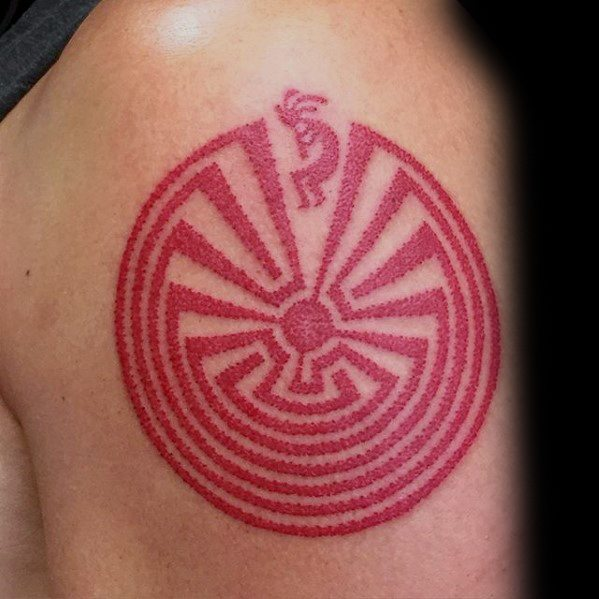 Male Red Maze Kokopelli Tattoo Ideas