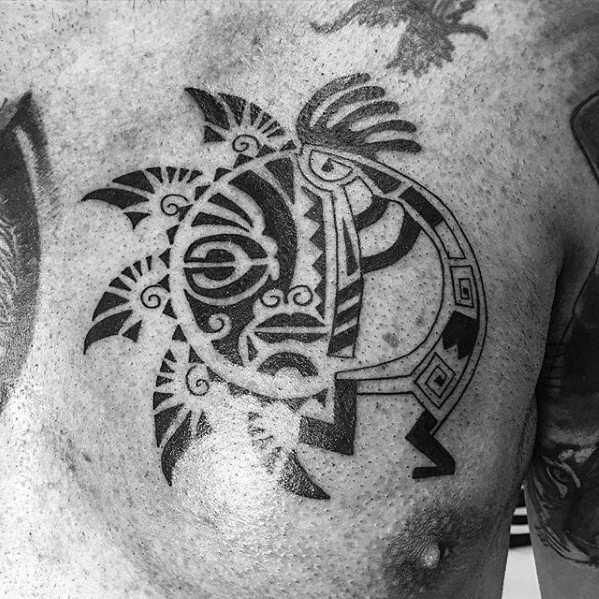 Tribal Chest Kokopelli Male Tattoos