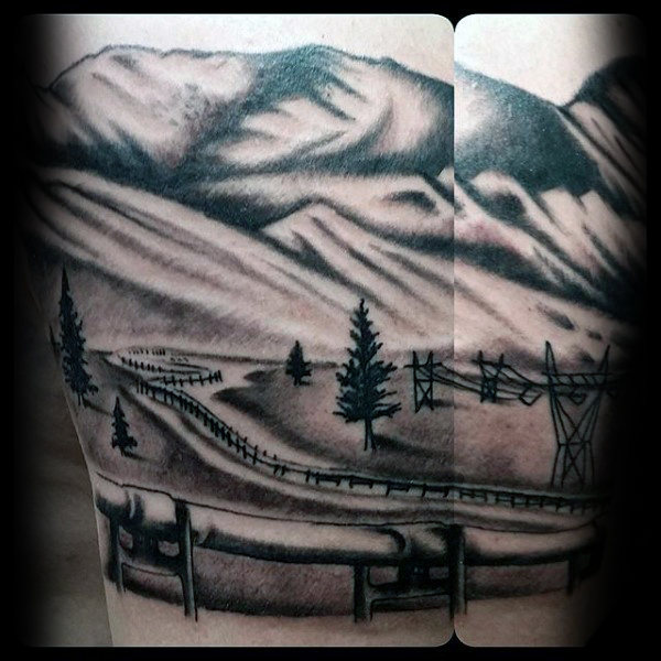 Shaded Black And Grey Mens Oilfield Landscape Tattoo Ideas On Arm