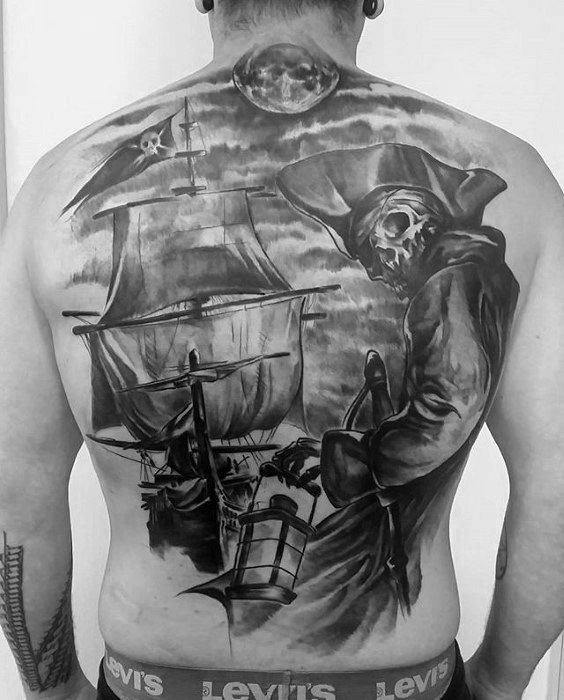 วอลเลย์ท้องรัง Skeleton Schiff Piraten Flagge Mens Tattoos