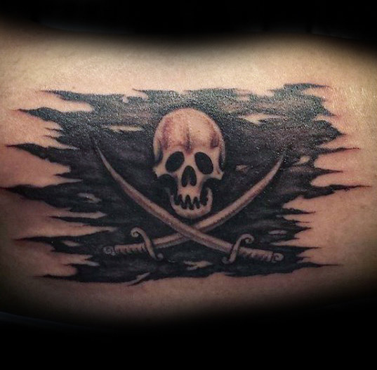 Zerrissene Piraten Flagge Mens เสื้อยืดลายสัก Tattoo Design-Ideen