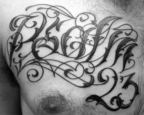 Guys Ornate Psalm 23 Lettering Upper Chest Tattoos