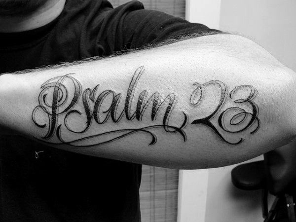 Gentleman With Psalm 23 Outer Forearm Tattoo