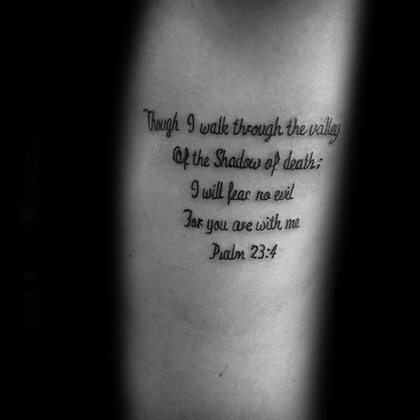Guy With Leg Psalm 23 Tattoo