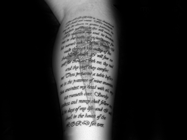 Leg Psalm 23 Bible Quote With Cross Male Religious Tattoo Design Ideas