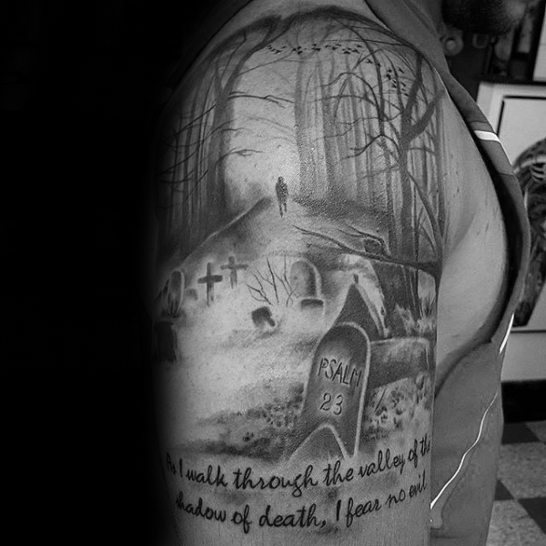 Mens Graveyard Psalm 23 Half Sleeve Tattoos