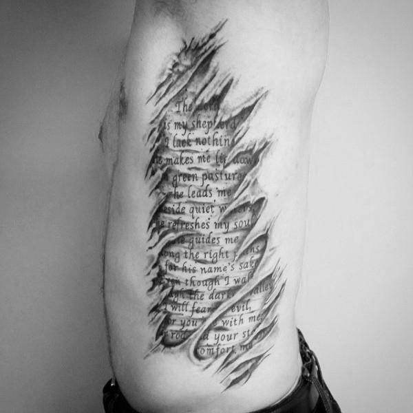 Ripped Skin Psalm 23 Mens Rib Cage Side Tattoos