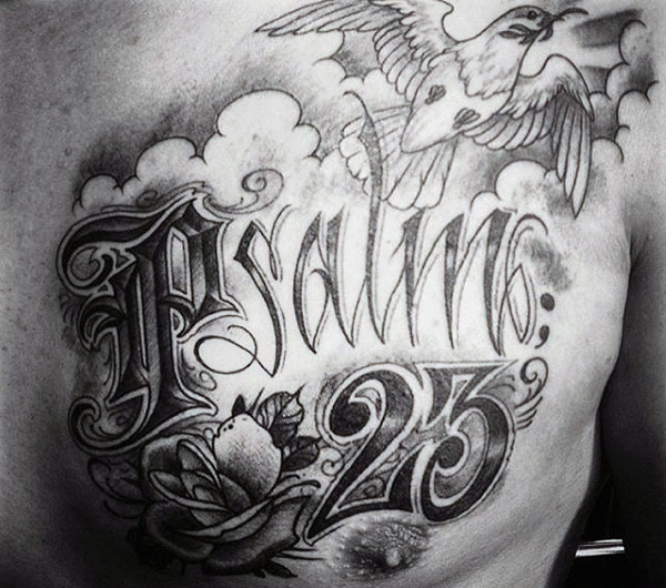 Dove Flying With Psalm 23 Mens Upper Chest Tattoos