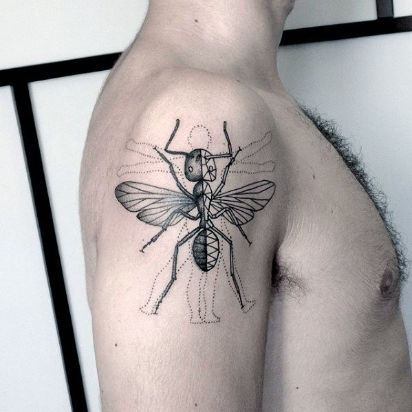 Upper Arm Male Ant Tattoo Design Inspiration