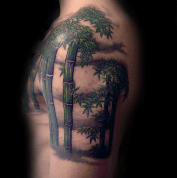 Cool Mens Upper Arm Green Bamboo Tattoo Designs