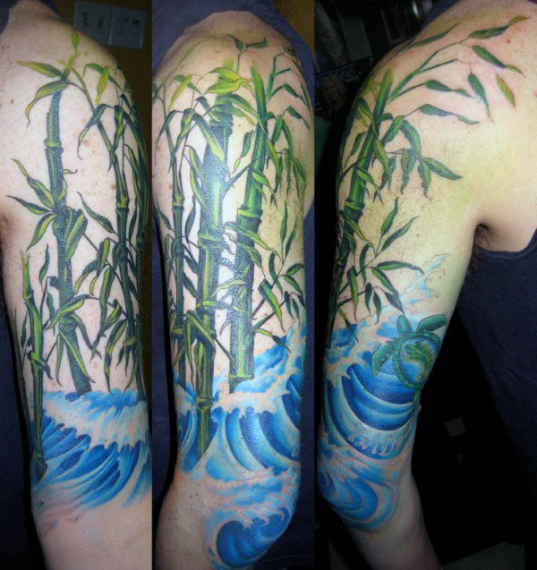 Blue Ocean Waves With Green Bamboo Mens Half Sleeve Tattoos