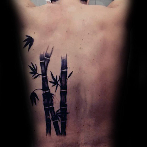 Cool Black Ink Bamboo With Leaves Mens Back Tattoo