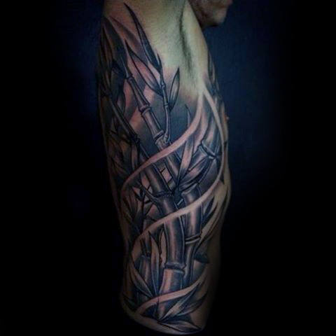 Gentleman With Rib Cage Side 3d Bamboo Tattoo