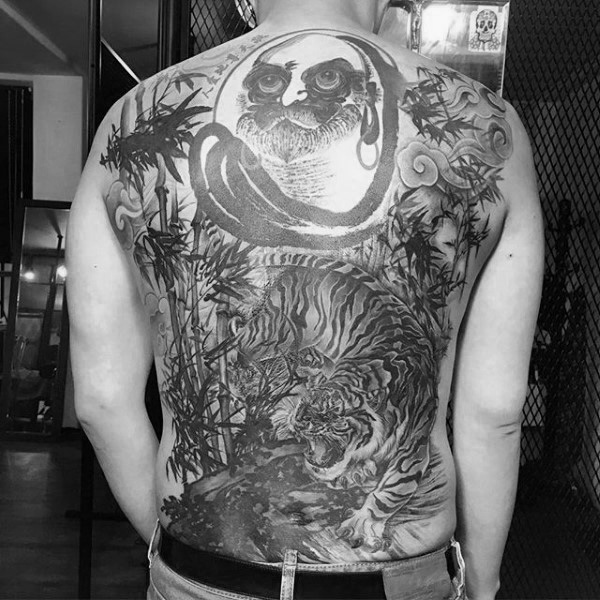 Guys Tiger And Bamboo Full Back Tattoos