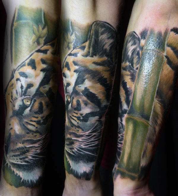 Realistic Tiger Bamboo Forearm Sleeve Tattoos For Men