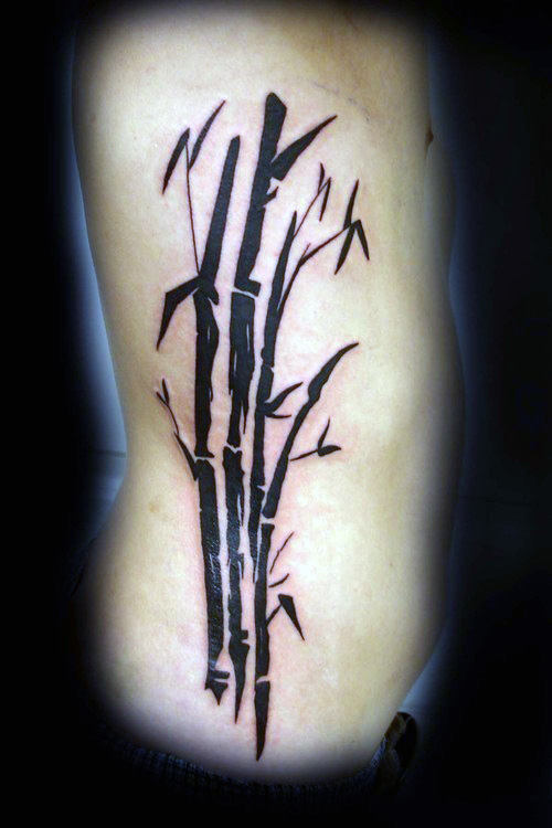 Ribs Male Black Ink Bamboo Tattoo Designs