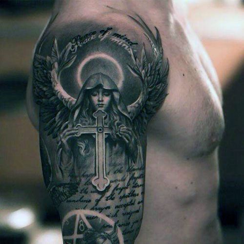 Mužská bible s tattoo bible s rukojetí Angel Holding
