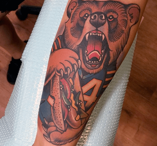 Inner Forearm Mens Chicago Bears Tattoo Design Inspiration
