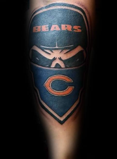 บุรุษ Tattoo จาก Chicago Bears Design Unterarm