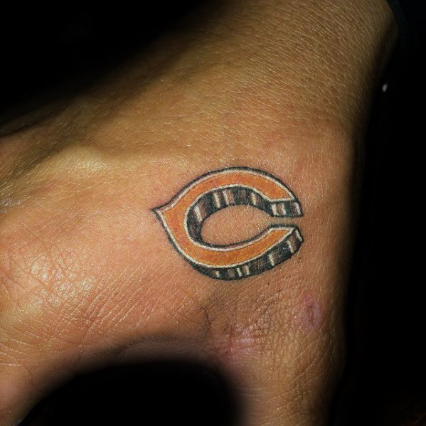 Kleine Hand Mens Tattoo ลายปัก Chicago Bären
