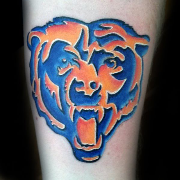 Le bleu et l'orange Chicago Bears Guys conceptions de tatouage sur l'avant-bras