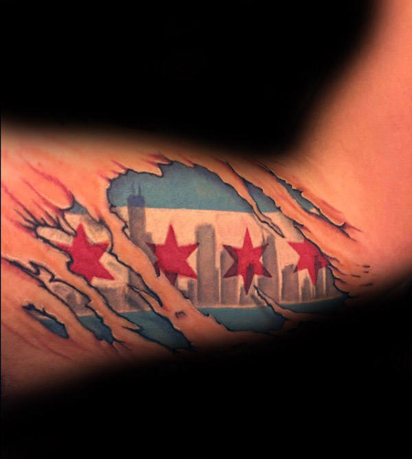 Ripped Skin Bicep Chicago Flag Guys Tattoo Design Ideas