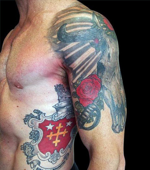 Man With Family Crest Tattoo Pada Rib Cage Side In Red Ink
