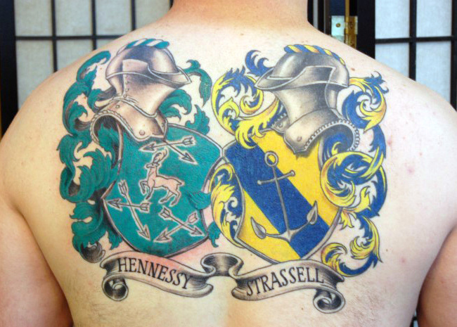Two Family Crest Tattoos Pada Mens Back