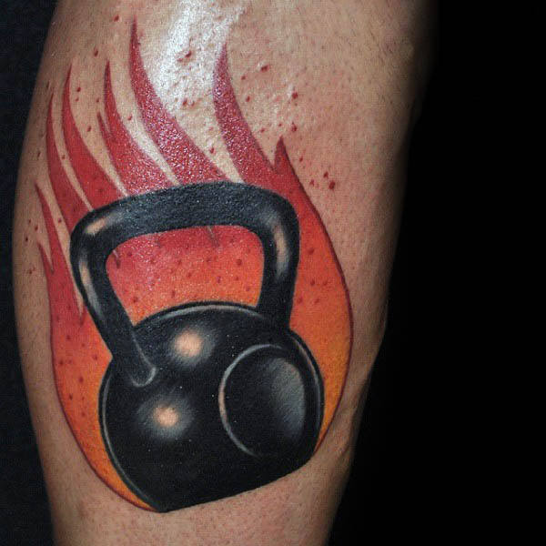 Flaming Kettle Ball Creative Mens Ιδέες Tattoo Fitness