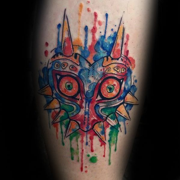 Cool Watercolor Leg Majoras Mask Tattoo Design Ideas For Male