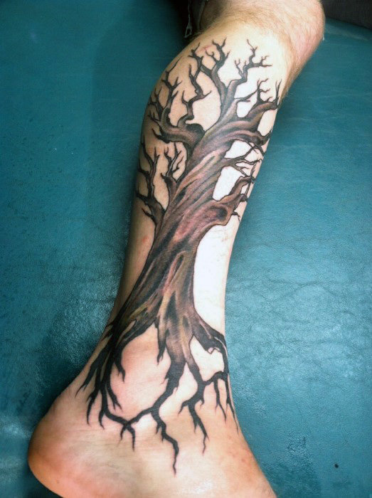 Guys Calves Brown Eiche Stamm Tattoo Design Ieas