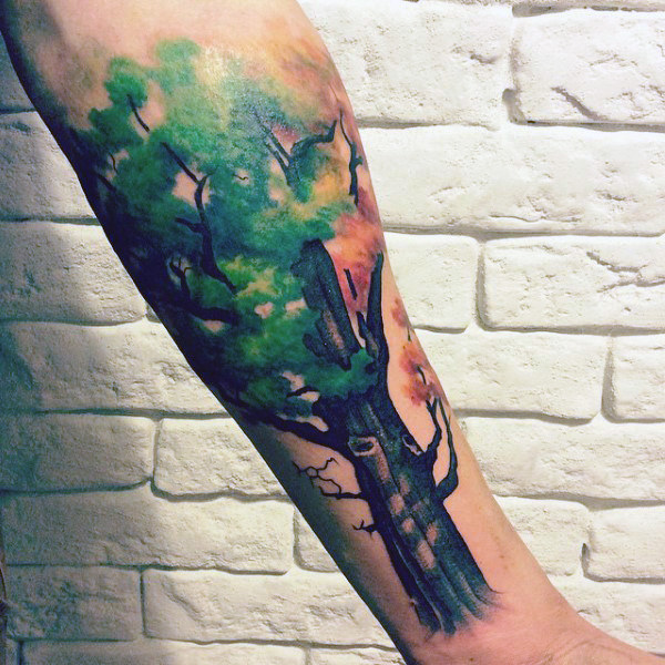 Guys Forearms Green Leaved Eiche Malerei Tattoos