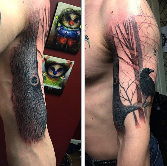 Mens Arms Crow auf Eiche Ast Tattoo